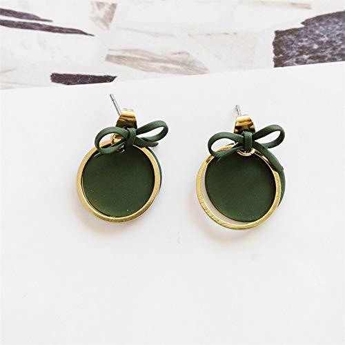 ESCYQ OrecchiniABottoneOrecchiniPendentiLineaDell'Orecchio Bowknot Orecchini Sub Gloss, Orecchini Verde, Moda, Round Squisita Ladies' Orecchini