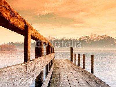 "Leinwand-Bild 90 x 70 cm: ""jetty on lake chiemsee (169)"", Bild auf Leinwand"