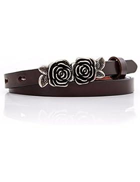 La cabeza de la flor Vintage cinturón de cuero puro de capa simple mujeres casuales jeans correa