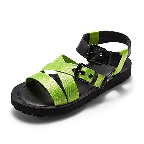 Kreative Sommer Sandale Strand Schuhe gewebt Gürtel Mann Pantoffel im Freien einfache Agraffe Stil (38-43 Größe) (Farbe : Leuchtendes Grün, größe : 41) - Armee Müdigkeit Hose