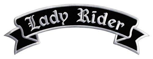 Lady Rider Biker Backpatch Rückenaufnäher XXL ca. 33,5 x 11,5 cm -