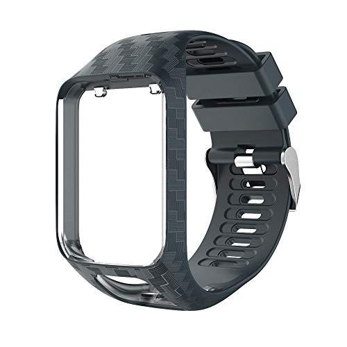Sinicyder Ersatz-Armband für Tomtom, Streifenmuster Uhrenarmband Weiches Silikon Ersatz Uhrenarmbänder Straps Sport Armband für Tomtom Adventurer, Runner 2/3, Spark 2/3, Golfer 2 Armband (Grau Blau)