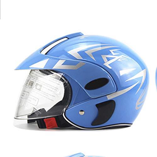 Kinderwinter Warmer windfester Helm Jungen und Mädchen Cartoon Halbhelm-Helm Kinder-Helm Motorrad leichte Kappe blau (3-7 Jahre alt)