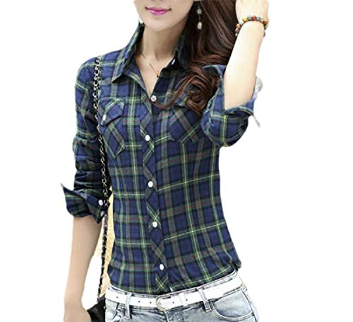 CuteRose Womens Cotton Plaid Slim Fitted Long-Sleeve Button Down Classic Top Green 3XL Elbow Sleeve Thermal