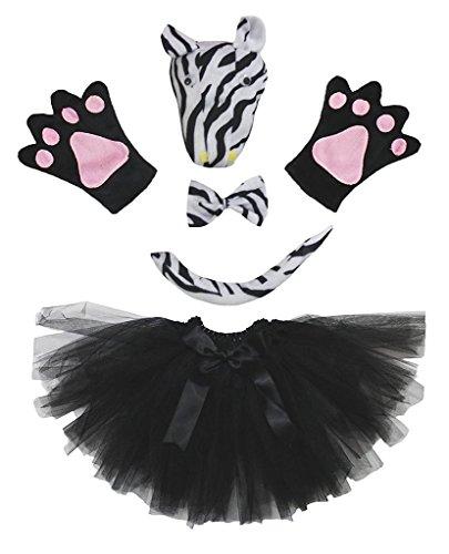 Petitebelle 3D-Stirnband Bowtie Schwanz Handschuhe Tutu 5pc Mädchen-Kostüm Einheitsgröße 3D Schwarz Zebra (Zebra Tutu Kostüm Kind)