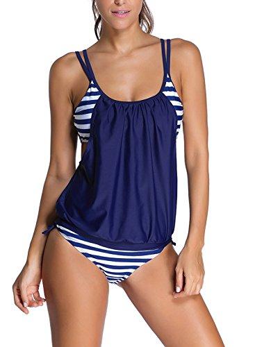 Azue Damen Tankini mit Slip Streifen Bauchweg Bademode Zweiteilig Beachwear Badeanzug Navy Blau und Weiß Streifen XL