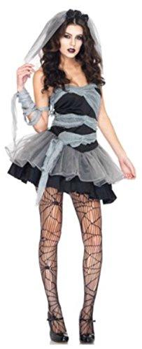 Schwarz Hexe braut Halloween Kleid Kostüm Cosplay Dunkle Halloween-Kleid bis FACY Kleid hslb2328, UK 10 ()