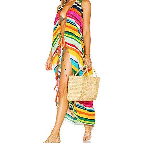Cutebility Frauen Sommer Weste Stil Vorne Offen Kimono Cardigan Regenbogen Farbige Streifen Strand Badeanzug Vertuschen Quasten Trim Maxi Schal Schal - Quaste Trim Schal