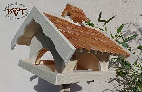 vogelhaus,groß,mit ständer,K-VONI5-MS-dbraun001 NEU MASSIVES GANZJAHRES PREMIUM-Qualität,Vogelhaus,+ NISTKASTEN IN EINEM (VOLL FUNKTIONSFÄHIG mit Reinigungsvorrichtung) !!! KOMPLETT mit Ständer !!! wetterfest lasiert, Qualität Schreinerware 100% Massivholz – VOGELFUTTERHAUS MIT FUTTERSCHACHT-Futtersilo Futterstation Farbe braun dunkelbraun schokobraun rustikal klassisch, Ausführung Naturholz MIT TIEFEM WETTERSCHUTZ-DACH für trockenes Futter - 3