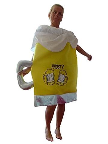 To82/00 Gr. M-XL Bierkrug Kostüm für Fasching und Karneval, Kostüme für Frauen Männer Erwachsene Paare, Faschingskostüm,