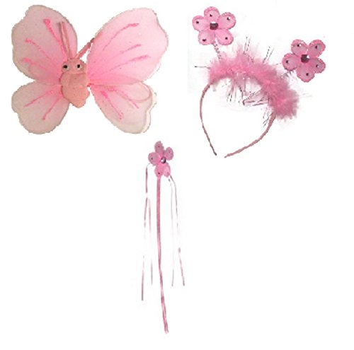 Flower Princess Fairy Wand Wings Bopper Set Glitter Detail Fancy Dress Ribbons Girls ()