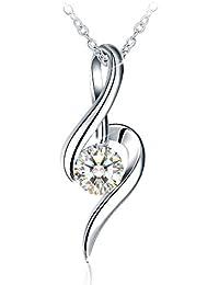 J.Rosée Collar Mujer, Plata de Ley 925 Brillante Circonita [Música del Amor] Cadena 45cm-50cm Regalos Navidad