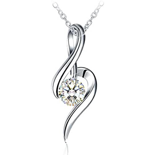 ofertas para el dia de la madre Collar Mujer, J.Rosée Plata de Ley 925 Brillante Circonita Música del Amor Cadena 45cm-50cm Regalo para el Día de la Madre