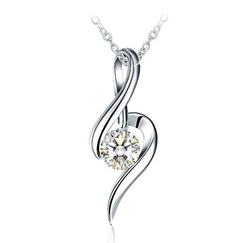 """Collar Mujer, J.Rosée Plata de Ley 925 Brillante Circonita""""Música del Amor"""" Cadena 45cm-50cm Regalo para el Día de la Madre (Color2)"""