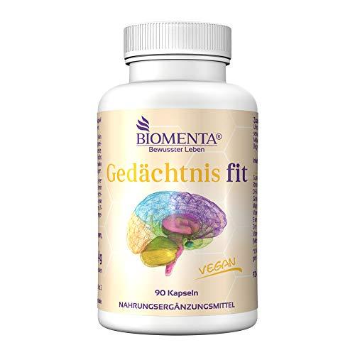 BIOMENTA GEDÄCHTNIS FIT | AKTION!!! | VEGAN | Gehirn Booster - Anti Stress | mit RHODIOLA ROSEA + GINKGO BILOBA + GUARANA + DHA (Omega 3) + Vitamine + Mineralstoffe | 90 Konzentration Gedächtnis Kapseln - Faktoren, 90 Kapseln
