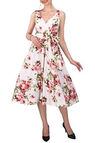 Kleid 40s 50s Swing Vintage Rockabilly Damen Retro Party Plus Größe 10 - 28, Creme, 48