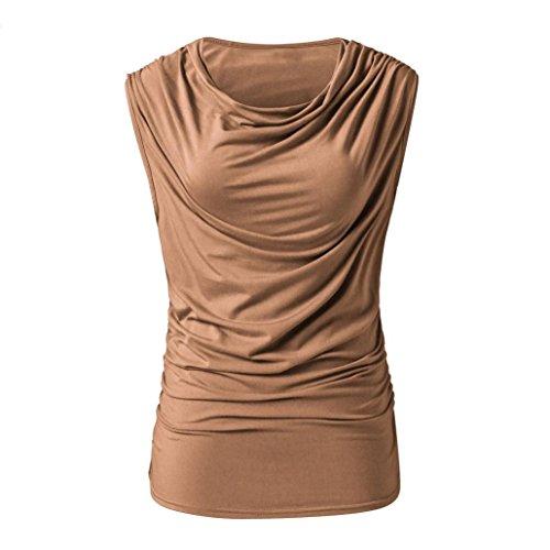 IMJONO Damen Frauen Casual Solid Geraffte Ärmel Lose T-Shirts Bluse Weste