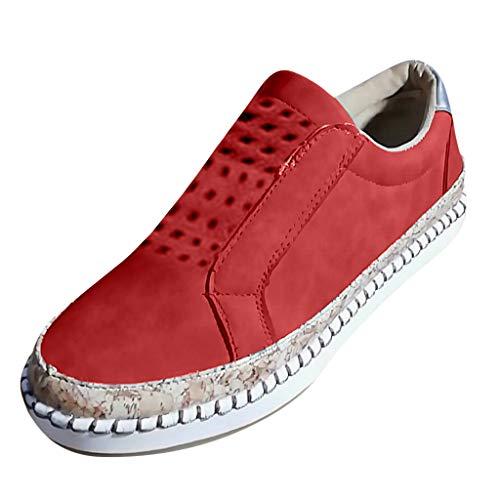 Damen Atmungsaktive Wanderschuhe, Selou New Hollow Out Casual Sneakers Frauen Canvas Trekking Retro Hoch Leinen Freizeit Glitzer Schuheinlagen ErhöHung Bequeme Sneakers