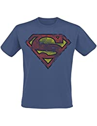 Superman Heavy Distressing Logo T-shirt bleu
