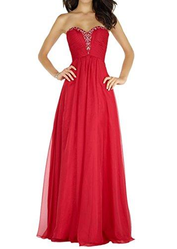 Charmant Damen Rot Elegant Chiffon Perlen Traegerlos Abendkleider Ballkleider Festlich Partykleider Lang A-linie Rock Rot