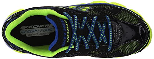 Skechers Kids Boys Air-Fly Back Athletic Sneaker (Little Kid/Big Kid) Black/Blue/Lime