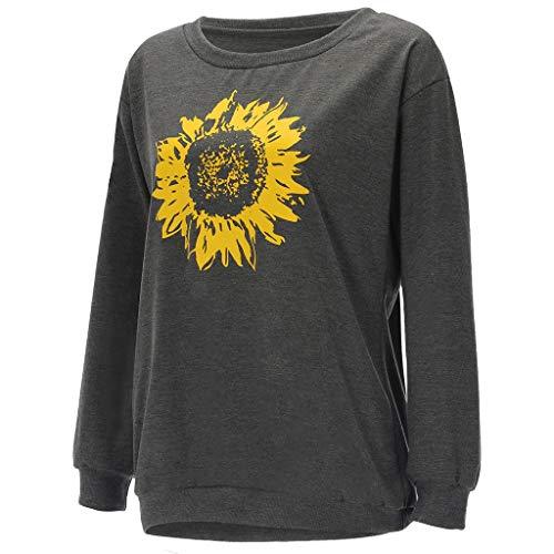 Jugendhj Damenmode Lässig Eine Schulter Sonnenblumendruck Blusen Langarm Top (Hut Polo Weiß Ralph Lauren)
