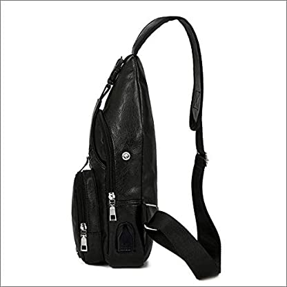 41sF rBgiBL. SS416  - Pawaca - Bolso Bandolera para Hombre, Piel sintética, con Puerto USB, para Negocios, Senderismo, Viajes