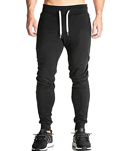 donhobo Mens Jogger Pants Jogging Bottoms Tracksuit Gym Running Sport Trousers with Zip Pockets
