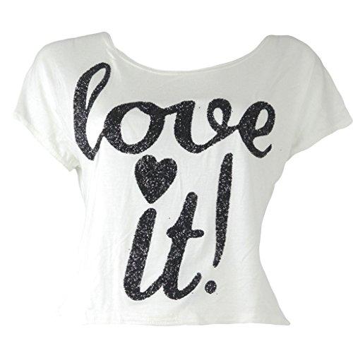 Islander Fashions WOMENS LADES CASUAL GLITTER Love It DRUCK CAP SLEEVE CROP TOP T-SHIRT (klein / mittel, weiß) (Crop Cap Sleeve)