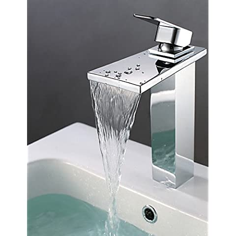 Cascata il lavandino del bagno contemporaneo di rubinetto in ottone cromato e contenitore semplice ed elegante classico di lusso e design resistente