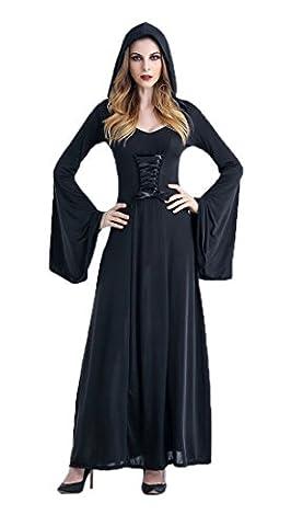 Honeystore Damen's Kostüm Halloween Fasching Karneval Hexe Vampir Lady Mittelalter Zauberin Kleid Mit Kapuze Schwarz (Frauen-power Ranger Kostüm)