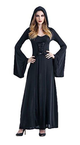 Kostüme Partner Halloween Kinder (Honeystore Damen's Kostüm Halloween Fasching Karneval Hexe Vampir Lady Mittelalter Zauberin Kleid Mit Kapuze Schwarz)