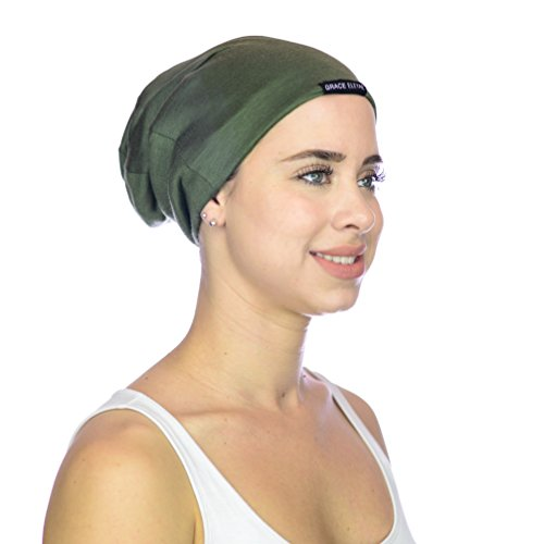Grace Eleyae Damen Satin gefütterte Schlaf Cap, Tam Hut Mütze Medium Medium (Haar-versorgt Für Mädchen)