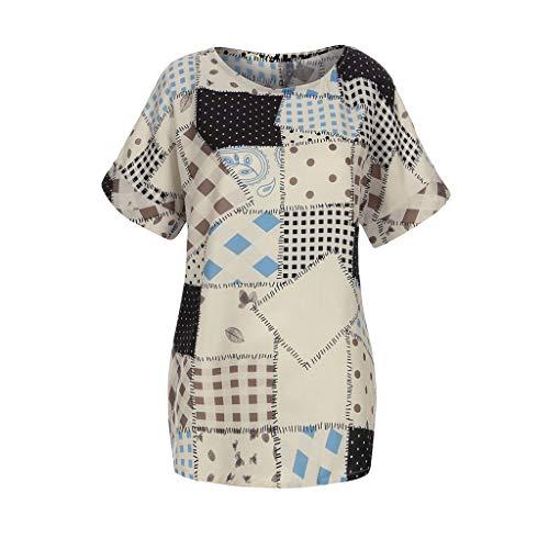 CAOQAO Damen Casual Patchwork Farbblock Damen Baumwollleinen Bluse Plus Size Loose Print O-Neck Kurzarm Bluse Pullover Tops Shirt