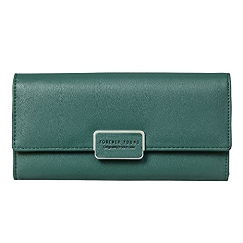 Fency Women's Multi-Card Faux Leather Wallet Long Tri-fold Matte Net Surface Purse (Dark Green)
