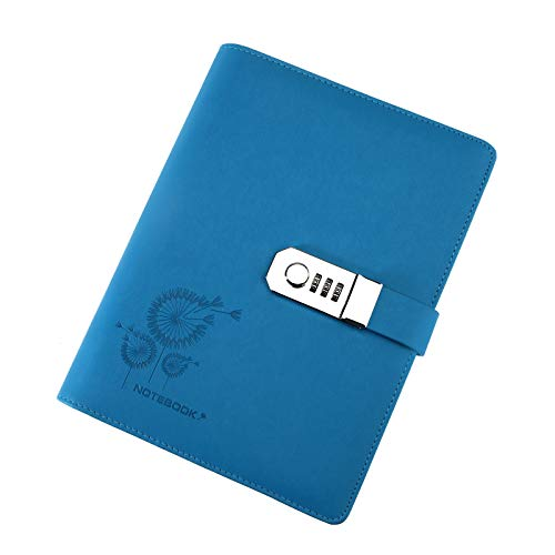 Blau Große Tagebücher Zeitschriften Notebook PU Leder A5 Code Lock Secret Diary