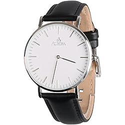 Aurora Women's Classic Casual Business Analogue Quartz Waterproof Wrist Watch With Black Band-Silver