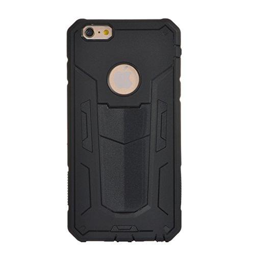 """iPhone 6 Plus Case, iPhone 6S Plus 5.5"""" Case SHANGRUN Armor Séries Case [Dual Layer] Hybrid Defender Silicone Hybride Couche 2 en 1 Silicone et PC Antichoc avec Béquille Etui Housse pour Apple iPhone  Noir"""