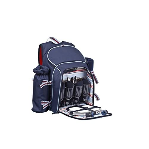 41sF2uu54NL. SS500  - Coastal 4 Person Picnic Backpack with Bottle Holder & Blanket, Navy, 48x21x46 cm
