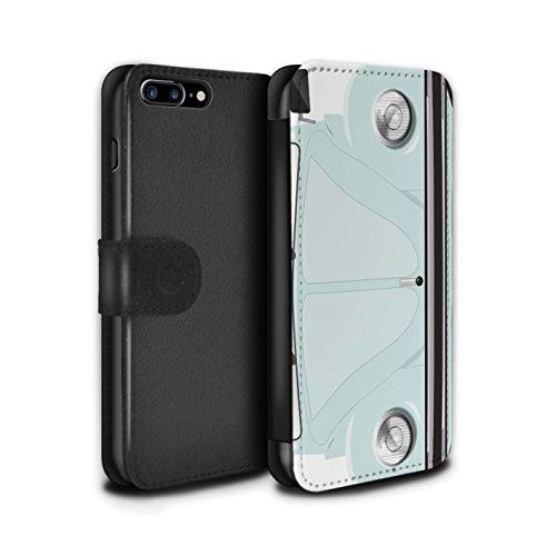 Stuff4 Coque/Etui/Housse Cuir PU Case/Cover pour Apple iPhone 7 Plus / Rayures Course Design / Rétro Coccinelle Collection Arctique Blanc