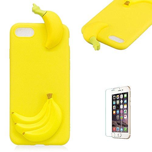 TPU Hülle für iPhone 7,Silikon Hülle für iPhone 8,Funyye Komisch 3D Banana Entwurf Ultra Dünnen Scratch Resistant Bumper Soft Rückseite Abdeckung Cover Tasche für iPhone 7/iPhone 8 4.7 Zoll + 1 x Frei Displayschutzfolie (Banana Silikon)