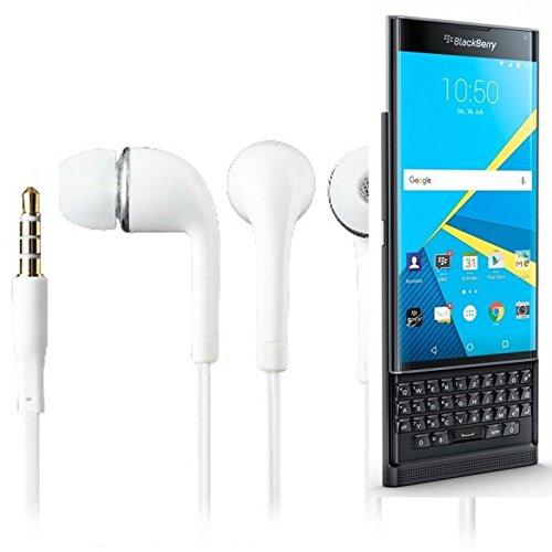 In Ear headphones para Blackberry Priv, con micrófono + control de volumen, blanco | 3.5mm auriculares micrófono omnidireccional, Studs auriculares auriculares estéreo sonido grave universal de control de volumen de los auriculares aplicación