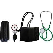Tensiómetro electrónico de brazo de 2 Manguera + estetoscopio verde de cabeza plana (1 Set