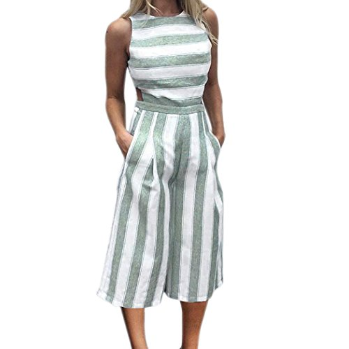 MOIKA Damen Jumpsuits, New Frauen-Sleeveless Gestreifter Overall-zufälliger Clubwear Wide Leg Pants Outfit(L2,Grün) (Capri-outfit Sommer)
