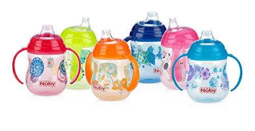 nuby-1-pack-designer-series-no-spill-clik-it-grip-n-sip-soft-flex-spout-cup-9-ounce-colors-may-vary