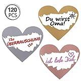 Kesote 120 Etichette Adesive Cuore Gratta e Vinci Rettangole Etichette di 3 Colori da Grattare Etichette per Matrimonio, San Valentino, Compleanno