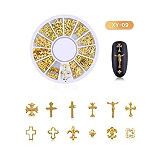 Gold-Nagel-Dekoration-Kit, hohle Metallnagelstecker - Herzen, Blumen, Sterne und Monde, Perlen Ohrstecker, Ocean Collection