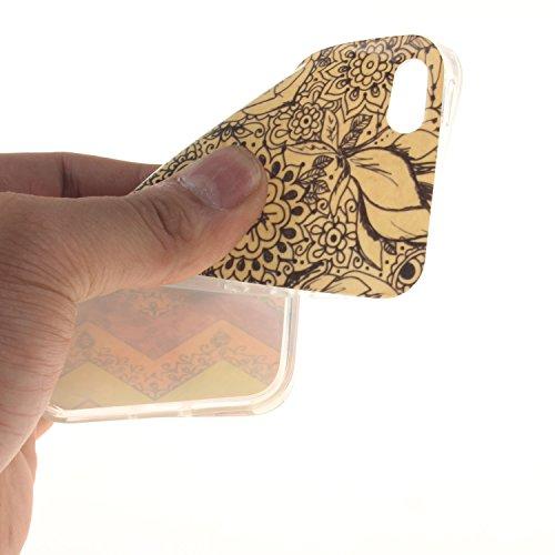 Etsue TPU Schutzhülle für iPhone SE/iPhone 5S Silikon Handyhülle Case Cover, Bunte Blumen Tier Muster UltraSlim TPU Silikon Transparent Clear Crystal Frame Handytasche Weiche Zurück Tasche Etui Bumper Welle,schwarz Blume
