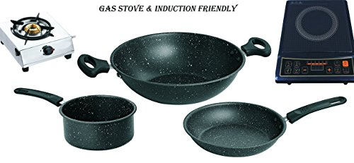 BHAVYA Non-Stick cookware set , 3-Pieces (1-Piece Non-Stick Kadai, 1-Piece Non-Stick Fry Pan , 1-Piece Non-Stick Sauce Pan ) Kitchen Set Deluxe Induction Friendly (Induction & Gas compatible) Ideal for Gift and Home use  available at amazon for Rs.849