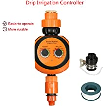 Timer irrigazione Pathonor Timer acqua Programmatore di Irrigazione Funzionamento a doppia dial con connettore universale, cinghia Timer automatico per giardino Pianta